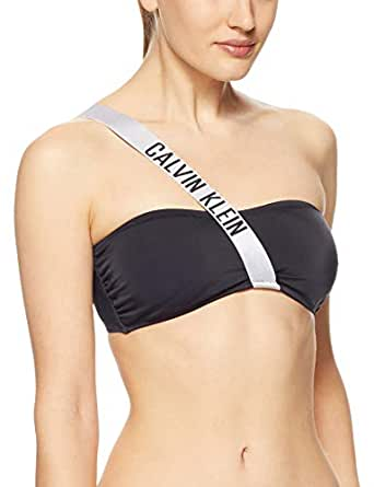 Calvin Klein Women's Intense Power Logo Bandeau, Pvh Black, XS