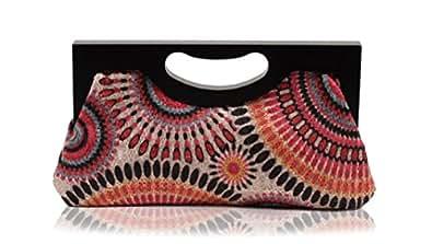 Scarleton Wood Framed Embroidered Clutch H300105 - Pink