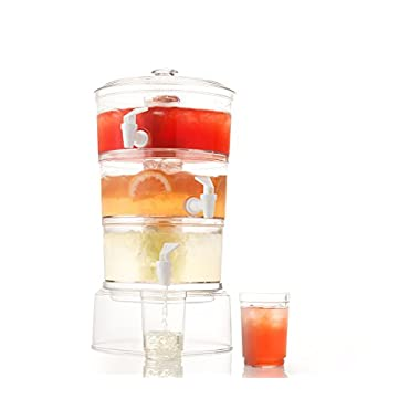 Sagler 3 Tier Stackable Beverage Dispenser with stand With Fruit Infuser And Ice Tube