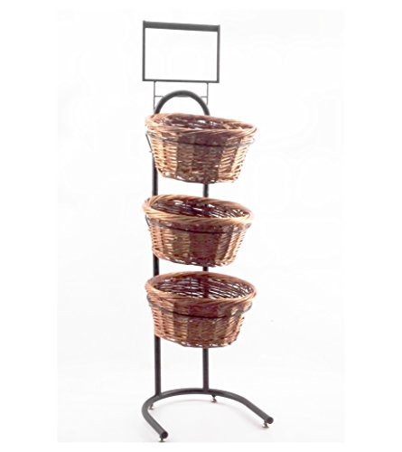 Fixture Displays 3-Tiered Wicker Basket Produce Bakery Floor Stand W/Sign Holder 31042-TWO-TONE-NPF (Tiered Basket Floor Stand)
