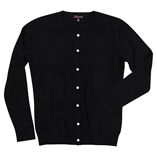 Urban Boundaries Women's 100% Cashmere Long Sleeve Crew Neck Cardigan Sweater (Black, X-Large)