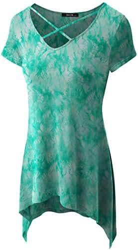 Women's Sexy Criss Cross Neck Casual Loose T-Shirt Tunic Top