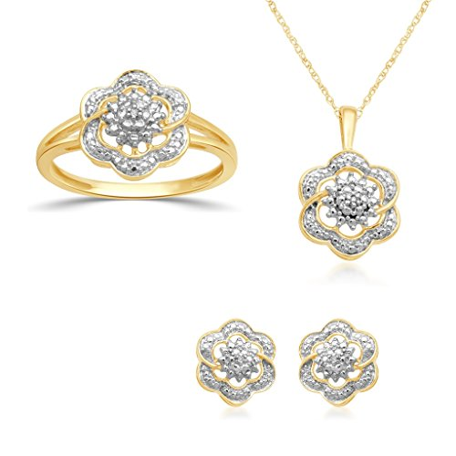 (Jewelili 18K Yellow Gold Plated Sterling Silver Diamond Accent Cluster Pendant Necklace, Ring And Stud Earrings Box Set, Size 7)