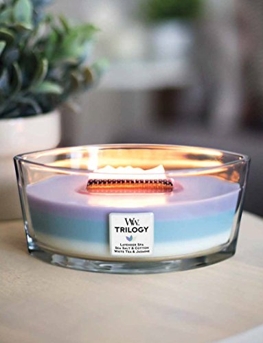 CALMING RETREAT WoodWick New Trilogy Collection HearthWick Flame Large Oval Jar 3-in-1 Scented Candle - 16 Ounces by WoodWick (Image #1)
