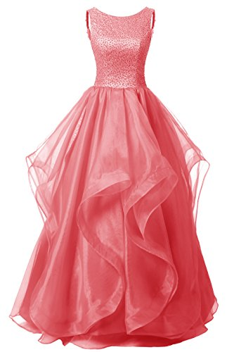 Gown Ball Evening Designer Prom - Dresstells Long Prom Dress Asymmetric Ball Gown Evening Gown Beads Organza Gown Coral Size 4