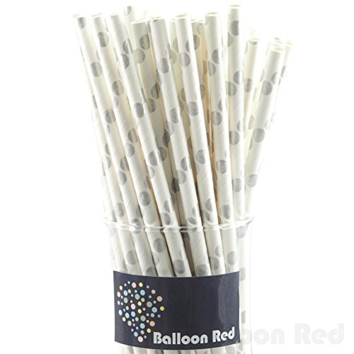 Biodegradable Paper Drinking Straws (Premium Quality), Pack of 50, Polka Dot - Silver