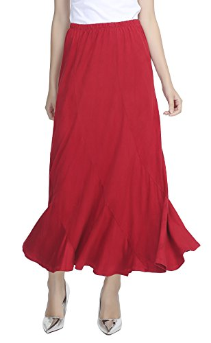 - Urban CoCo Women's Vintage Elastic Waist A-Line Long Maxi Skirt (XL, Red)