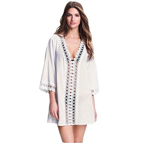 Zmart Women's V-neck Crochet-Trim Loose Chiffon Kimono Swimsuit Beach Cover-Up,White,Label size M=US XS (0,2),White,Label size M=US XS (0,2)
