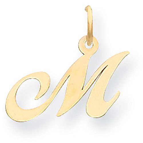 14k Yellow Gold Cursive Script Initial Pendant - Letter M - Yellow Gold 14k Yellow Gold Name Pendant