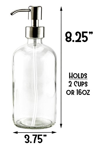 0bdc536b8ff2 16-Ounce Clear Glass Boston Round Bottles w/Stainless Steel - Import ...