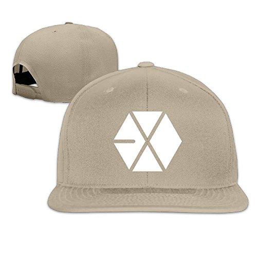 NUBIA EXO Logo Outdoor Brim Hat Adjustable Flat Bill Hat Natural