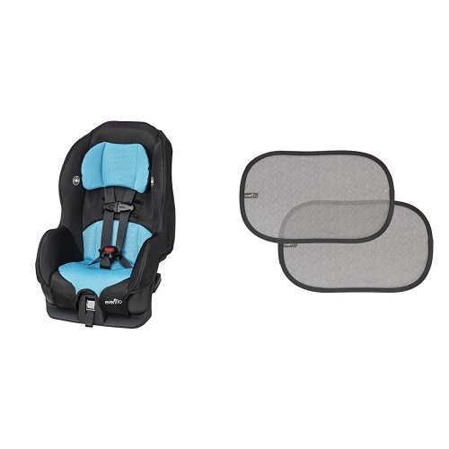 Evenflo Tribute LX Convertible Car Seat - Neptune with 2 Piece Car Window Cling Shades, Grey Chevron