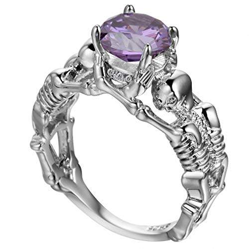 Giwotu Womens Mens Ghost Evil Skull Skeleton Hand CZ Ring European and American Punk Style Men Ring New Skull Men's Jewelry Purple Silver 5 (American Pearl Bracelet Pearl)