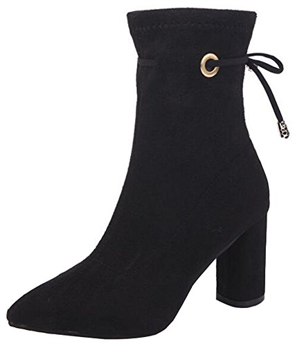 IDIFU Womens Retro Mid Chunky Heels Pointed Toe Faux Suede Back Lace Up Mid Calf Boots Black GBpSedI