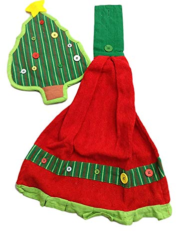 Holiday Hanging Kitchen Towel and Pot Holder 2 Piece Set - Tree