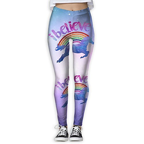 (I Believe In Unicorns Women's Stretchable Sports Running Yoga Workout Leggings Pants L)