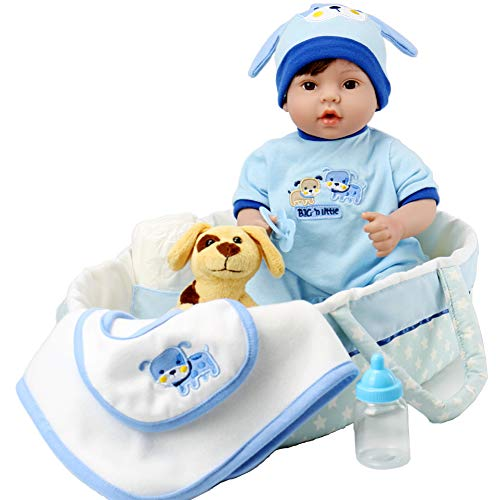 Little Baby Puppies - Aori Reborn Baby Boy Doll 18 inch Lifelike Relastic Doll in Gentle Touch Weighted Body with Puppy,9-Piece Gift Set with a Baby Carrier/Bassinet