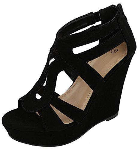 Cambridge Select Women's Open Toe Caged Cutout Chunky Platform Wedge Sandal,7 B(M) US,Black (Black Retro Wedge Sandals)