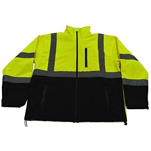 Petra Roc LBSFJ1-C3-L ANSI 107 Class 3 Water Resistant Softshell High Visibility Safety Jacket Large Lime/Black [並行輸入品]  B07NBN4VSB