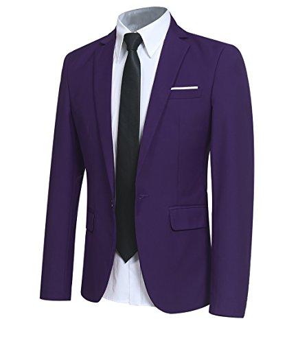 YFFUSHI Men Slim Fit One Button Blazer Jacket Casual/Party Sport Coat,Purple,XX-Large