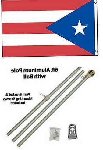 Hebel 3x5 Puerto Rico Flag Aluminum Pole Kit Gold Ball Top 3x5 Residential Business | Model FLG - 416