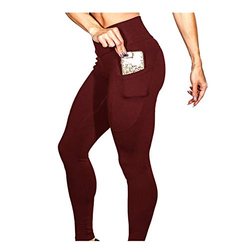 - PASATO Women's Solid Workout Fitness Sports Gym Running Yoga Athletic Pants Tummy Control Stretch Yoga Leggings(Wine,M=US:S)