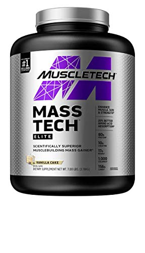 MuscleTech Mass-Tech Elite Whey Protein Powder   Max-Protein Mass Gainer + Creatine Monohydrate for Muscle Size & Strength   80g of Protein, 10g of Creatine   Vanilla, 7 Pounds (packaging may vary)