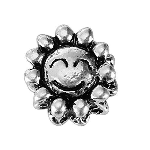 PEPPERLONELY 20pc Antiqued Silver Alloy Large Hole Beads Sunflower Smile Face Carved Charms Pendants 10x9mm (3/8