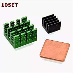 Nrthtri smt 10Pcs Aluminum Heat Sink Kit with Coppor Kit for Raspberry Pi 2 Model B Board