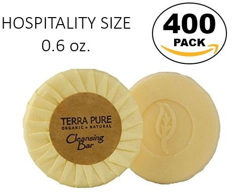 (Case of 400) Terra Pure Green Tea Cleansing Bar, Hospitality Size 0.6 oz Individually Wrapped Soap, Enriched with Organic Honey And Aloe - Honey Green Case