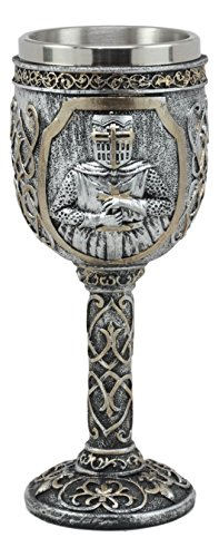 Ebros Medieval Templar Knight Of The Cross Wine Goblet 7.75''H 5oz Suit Of Armor Swordsman Wine Chalice Cup by Ebros Gift