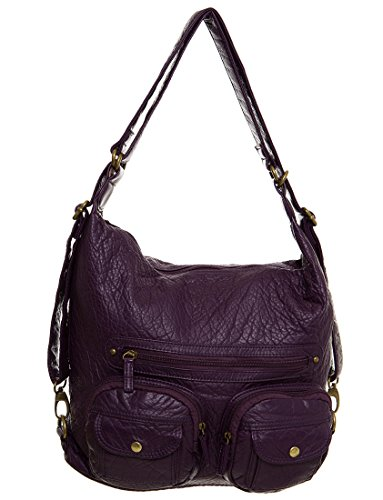 Backpack Creations by Ampere amp; Convertible Crossbody Vegan 3 Purple Purse Leather way aq8BTE