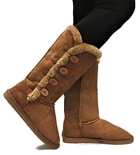 Brown Faux Fur Boots (Womens TRISH Soft Fur Lined Warm Winter Boot 4-Button Mid Calf Faux Suede Girls, Chestnut Tall,)