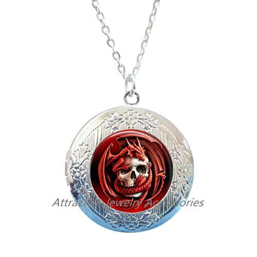 (Dragon & Skull Locket Pendant Charm Glass Cabochon Ancient Locket Necklace,Mythical Jewelry - Dragon Gifts - Dragon Locket Necklace,QK156)
