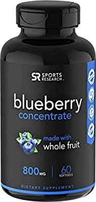 Whole Fruit Blueberry Concentrate Made from Organic Blueberries ~ Non-GMO & Gluten Free (60 Liquid Softgels)