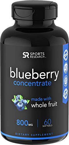 Whole Fruit Blueberry Concentrate made from Organic Blueberries | Packed with Antioxidants and Phytonutrients | Non-GMO, 60 Liquid Softgels