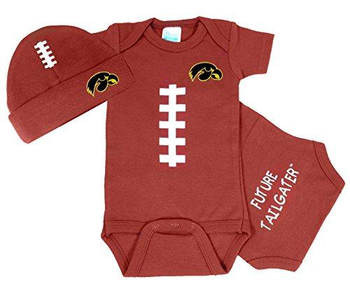 Iowa Hawkeyes Baby Football Onesie and Football Hat Set (Iowa Football Hawkeyes Brown)