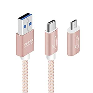 MEIGO USB C Cable USB 3.0 Type C and Micro USB 6.6ft Fast Charging Sync Nylon Braided Cable for Google Pixel,LG G6 V20,Nintendo Switch,Samsung Galaxy S8 Plus,New Macbook More (Rose Gold)