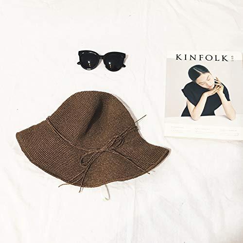 Ultra-fine Exquisite Hand-Crocheted Raffia Bow Bucket Hats Sun hat Cap Sun Women Girls (Light Brown