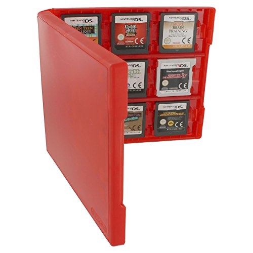 (Assecure pro red 18 in 1 game cartridge holder storage system folio style case box for Nintendo 3DS, 2DS & DS game cards)