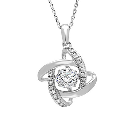 Sterling Silver Dancing Simulated Diamond Pendant made with Swarovski Zirconia