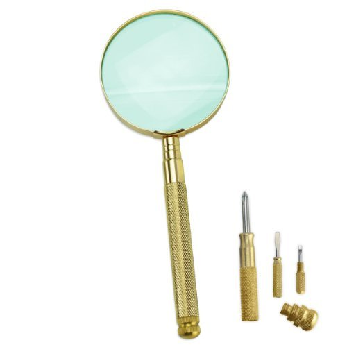 - Pro Tools Deluxe Brass 3X Magnifier & Self-Storing Screwdriver Set