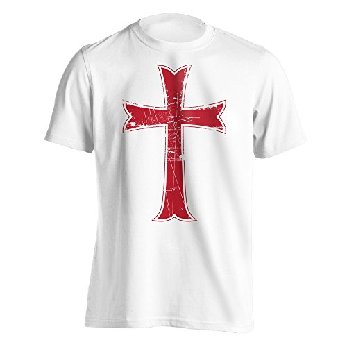 Crusader Knights Templar Distressed Cross T-Shirt Large White