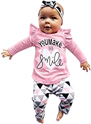 Fasouem Long Sleeve Pullover + Pants + Headband Clothes Set for Baby Boy Girl Pajamas Outfits Set for Newborn