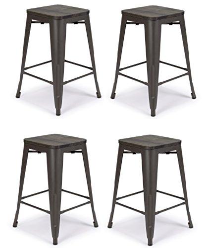 "Deluxe Seat Bar Stool - Set of 4 Metal Bar Stool 24"" Malek Matte Espresso w/Dark-Wood Seat Counter Stools, Stool Chairs, Bar Chairs Kitchen Stool Lasting Furniture"