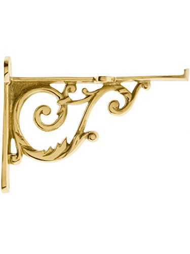 House of Antique Hardware R-010SE-0700448 Small Cast Brass Scroll Shelf Bracket in Polished Brass
