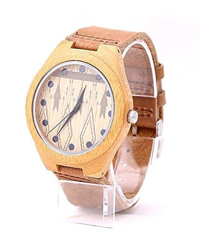 Mercimall Men's Wooden Wristwatch Beautiful Timepiece Eco Friendly Bamboo Watches (Vegan Leather Watch Man)
