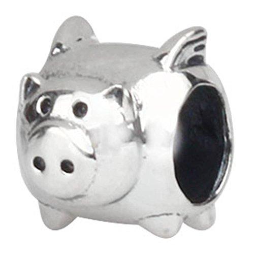 Choruslove Flying Pig Charm for Bracelet 925 Sterling Silver Animal Bead Kid Gift
