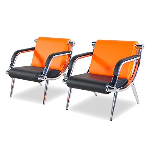 BORELAX 2Pcs Orange and Black PU Leather Office Reception Chair Waiting Room Visitor Guest Sofa Seat
