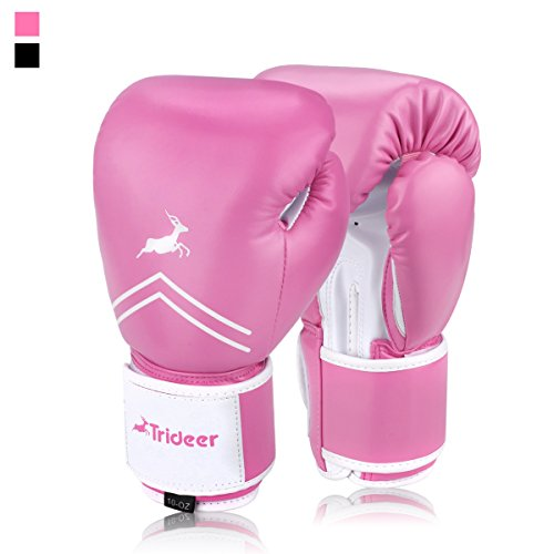 Trideer Essential GEL Boxing Kickboxing Training Gloves (Pink & White, 10 (Shock Absorption Glove Gloves)